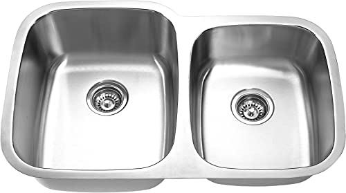 Yosemite Home Decor MAG503 18-Gauge Stainless Steel Undermount Double Bowl Kitchen Sink, Satin