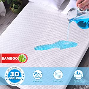 Premium Cooling Bamboo Waterproof Mattress Protector King Size 3D Air Fabric Ultra Soft Breathable Mattress Pad Cover Comfort & Protection Phthalate & Vinyl-Free (White 3D Bamboo Fabric Queen)