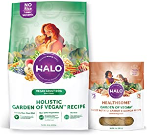 Halo Vegan Dry Dog Food, Garden of Vegan Recipe, 10-Pound Bag Plus Vegan Natural Dog Treats