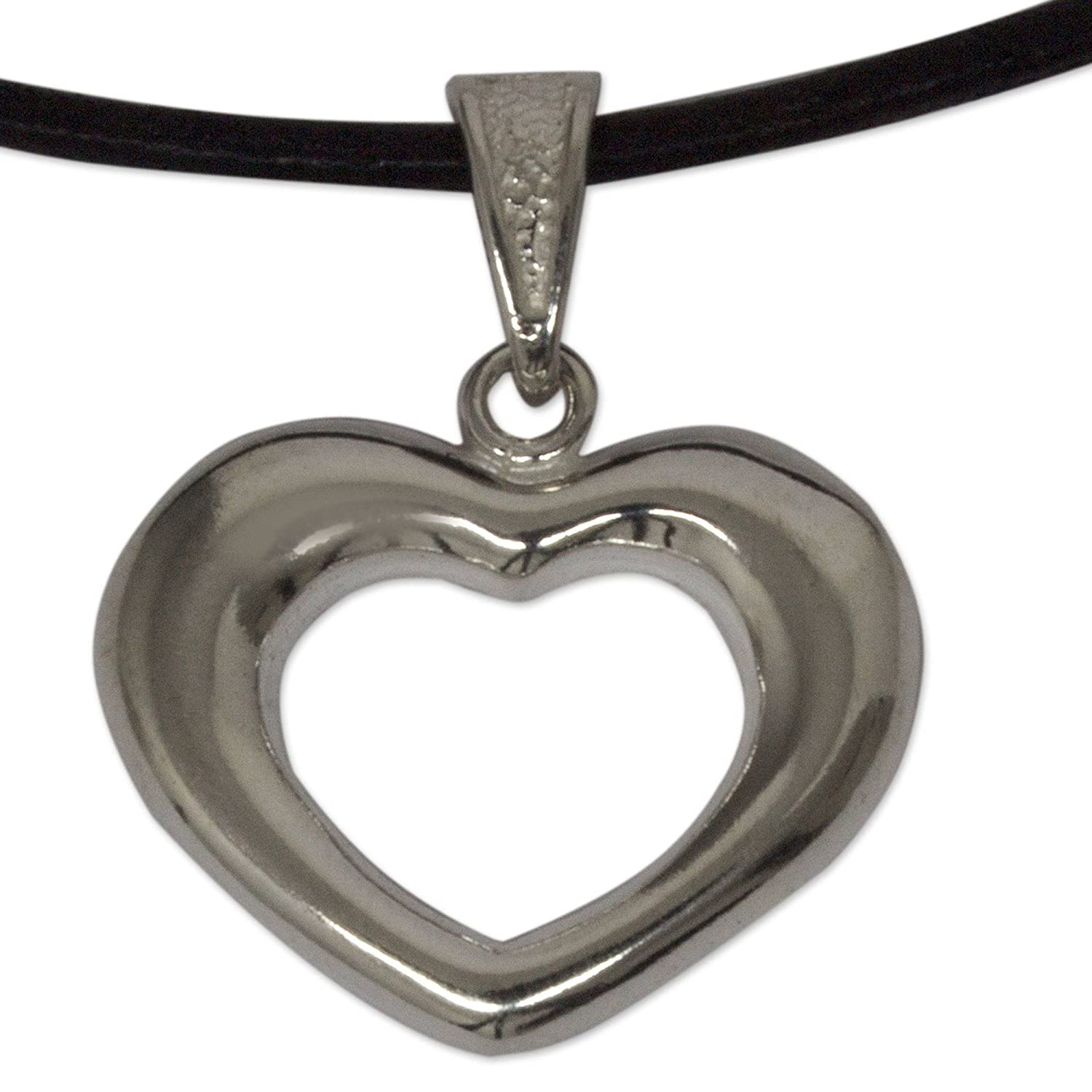 NOVICA .925 Sterling Silver Leather Heart Shaped Necklace Modern Love