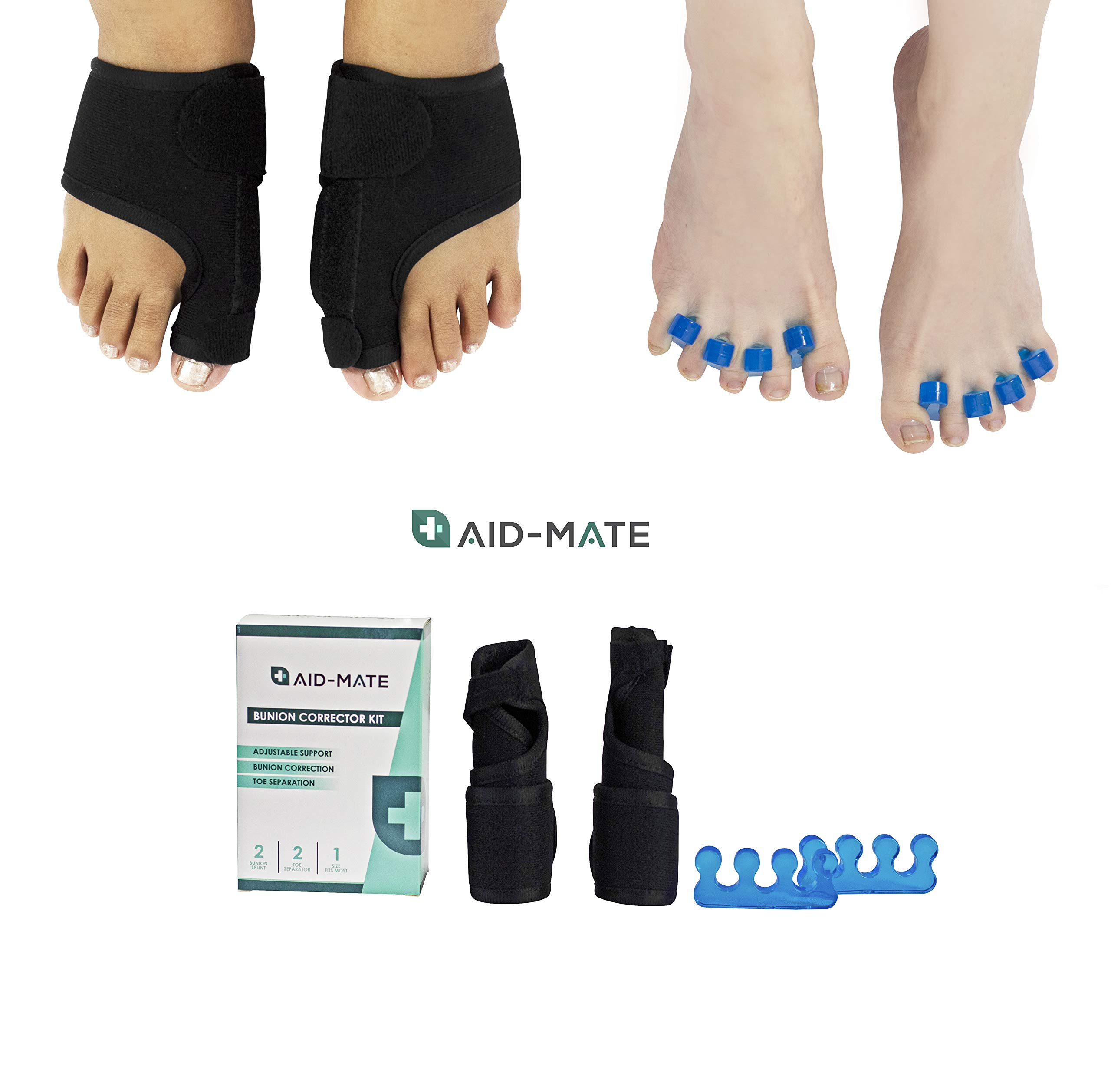 Aid-Mate Bunion Corrector and Bunion Relief Kit Bunion Splint Toe Separators Hammer Toe Straightener Toe Spacers Orthopedic Bunion Corrector for Men and Women by Aid-Mate