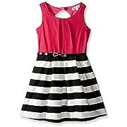 108284c665ef Emerald Sundae Girls  Big Blk White Strip Skirt with Fuschia Top Dress