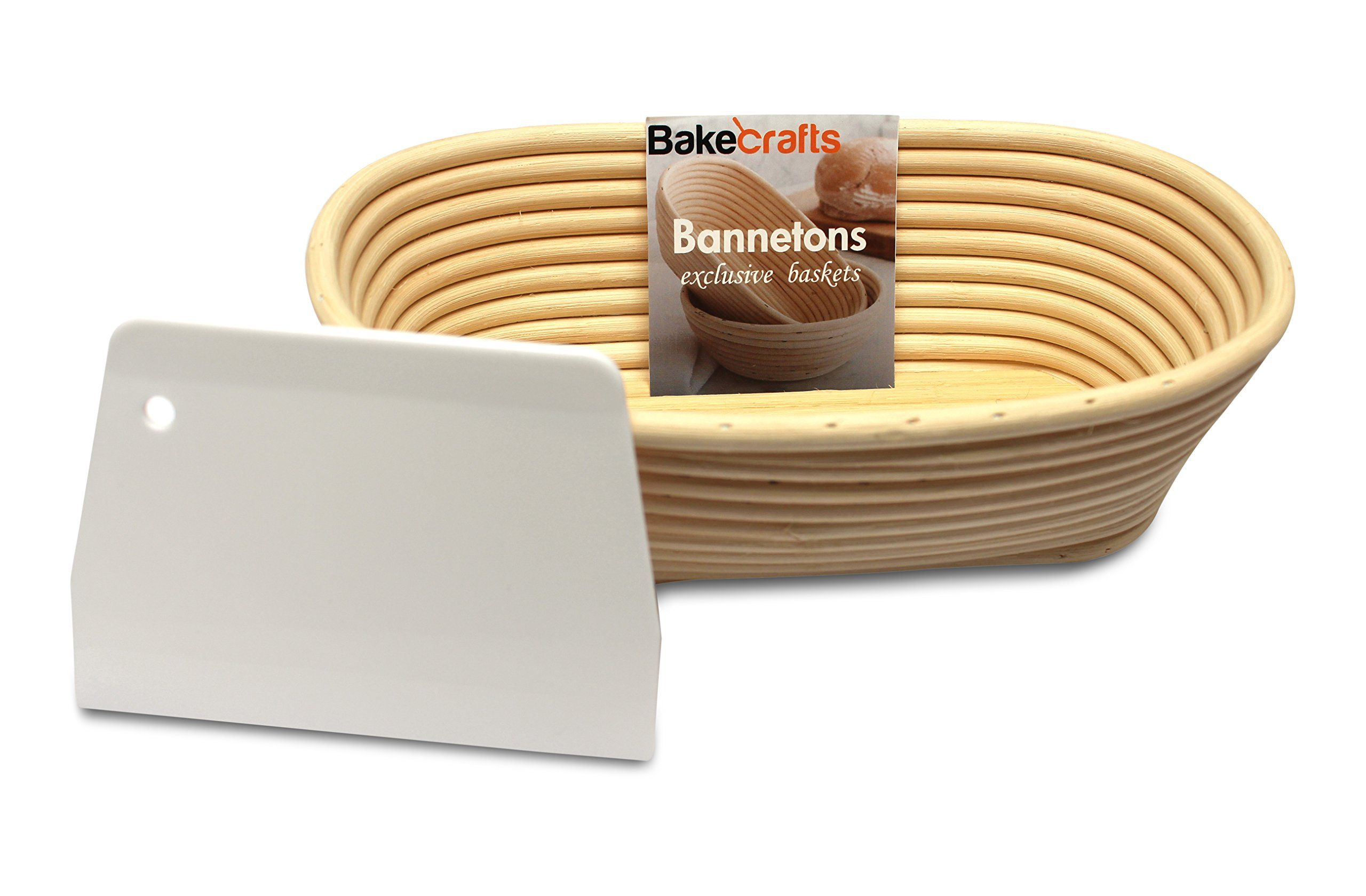 BakeCrafts - [10-inch] Oval Banneton Proofing Basket + FREE Dough Scraper | Oval Brotform Banneton Bread Proofing Rattan Basket Perfect For Homemade Artisan Bread