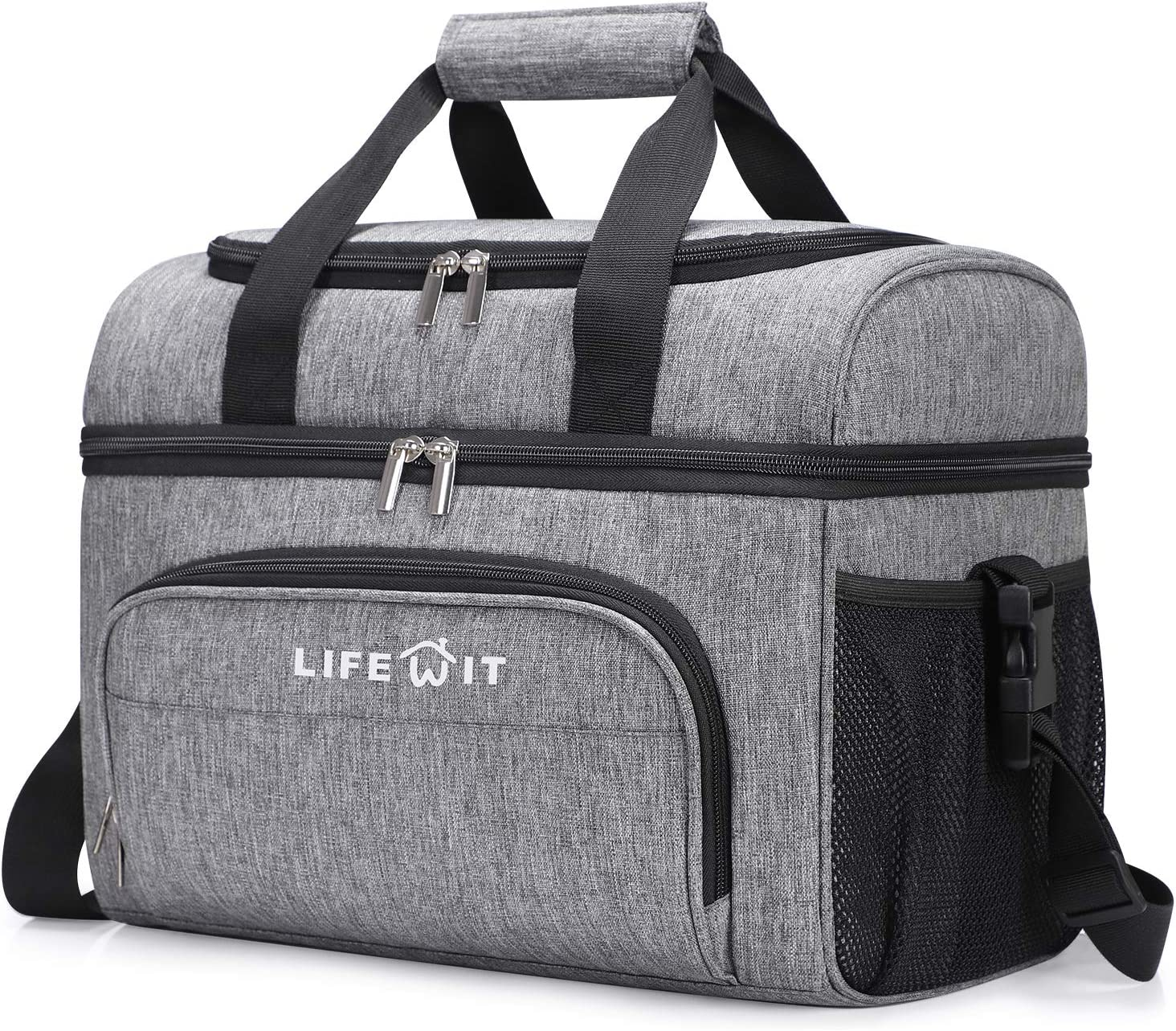 Lifewit Collapsible Cooler Bag 48-Can Insulated Leakproof Soft Cooler Portable Double Decker Cooler Tote for Beach/Picnic/Sports, Grey