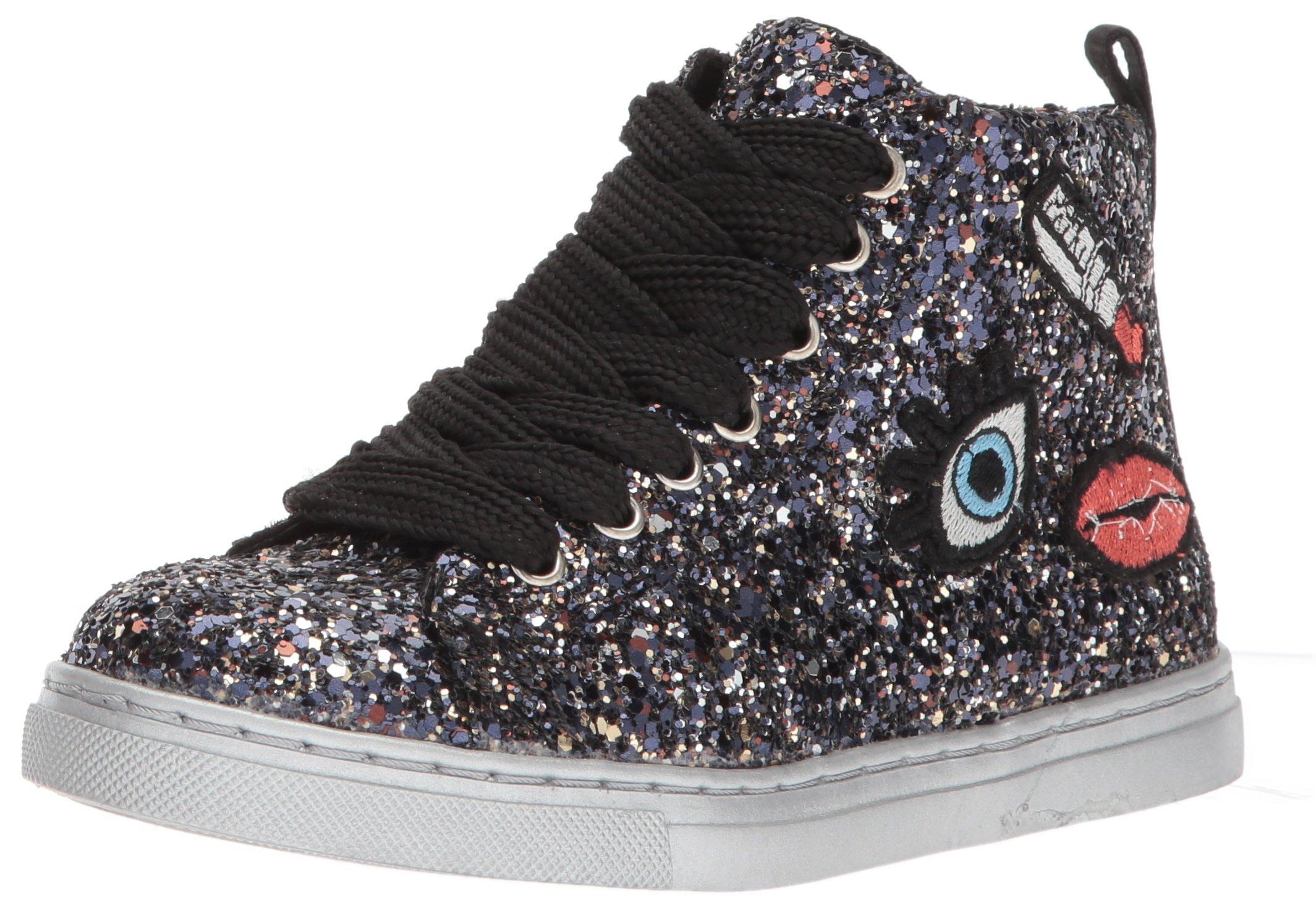 Dolce Vita Girls' Zaine Sneaker, Black Multi Glitter, 4 Medium US Little Kid