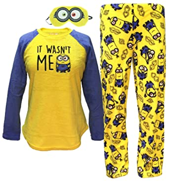 Despicable Me Minions Plush Pajama Sleep Set w/ Eyemask - Medium