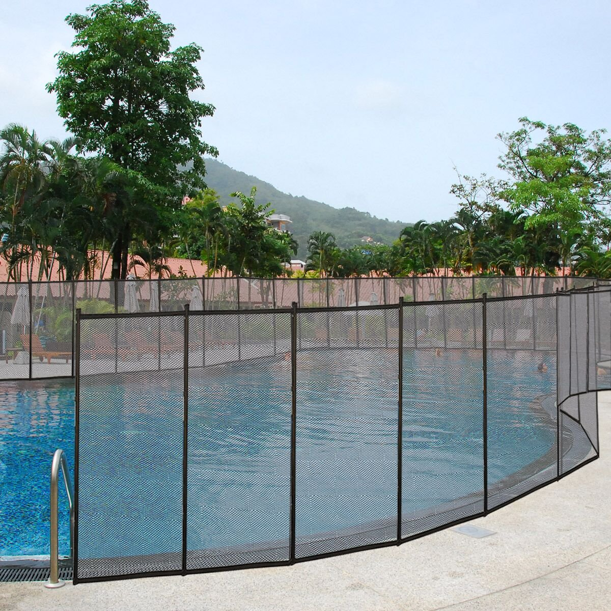 Giantex 4'x12' Pool Safety Fence In-Ground Swimming Pool Fence Section Prevent Accidental Drowning