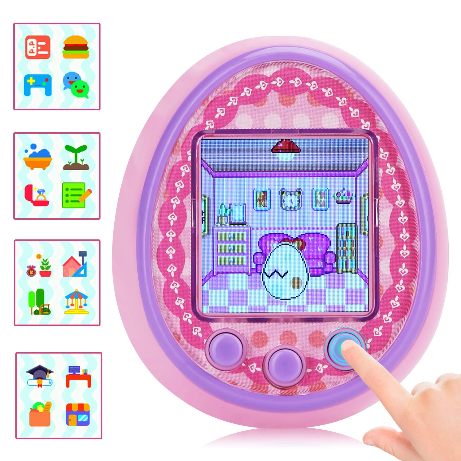 DUIWOIM Virtual Pet Electronic Handheld Pet Game Machine Kids Educational Toy HD Color Screen New Version 8 Characters Birthaday Gift for Girls Best Partner for Kids Age Over 6 Years(Pink) by DUIWOIM (Image #2)