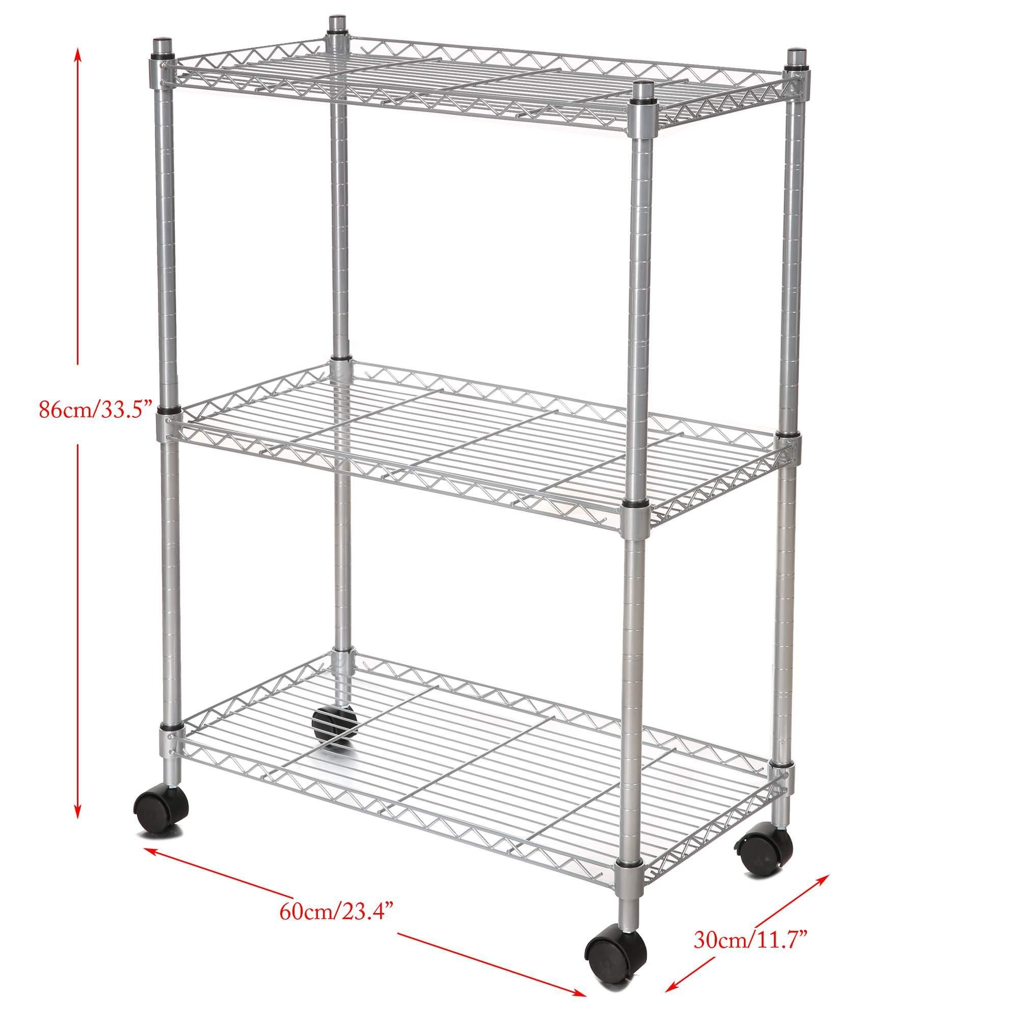 3 Tier Wire Shelf Unit, Wire Shelf Storage Organizer Modern Rolling Cart Rack with Wheels (US STOCK)