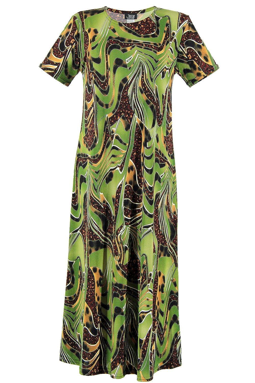 W984 Olive Jostar Women's Stretchy Long Dress Short Sleeve Print