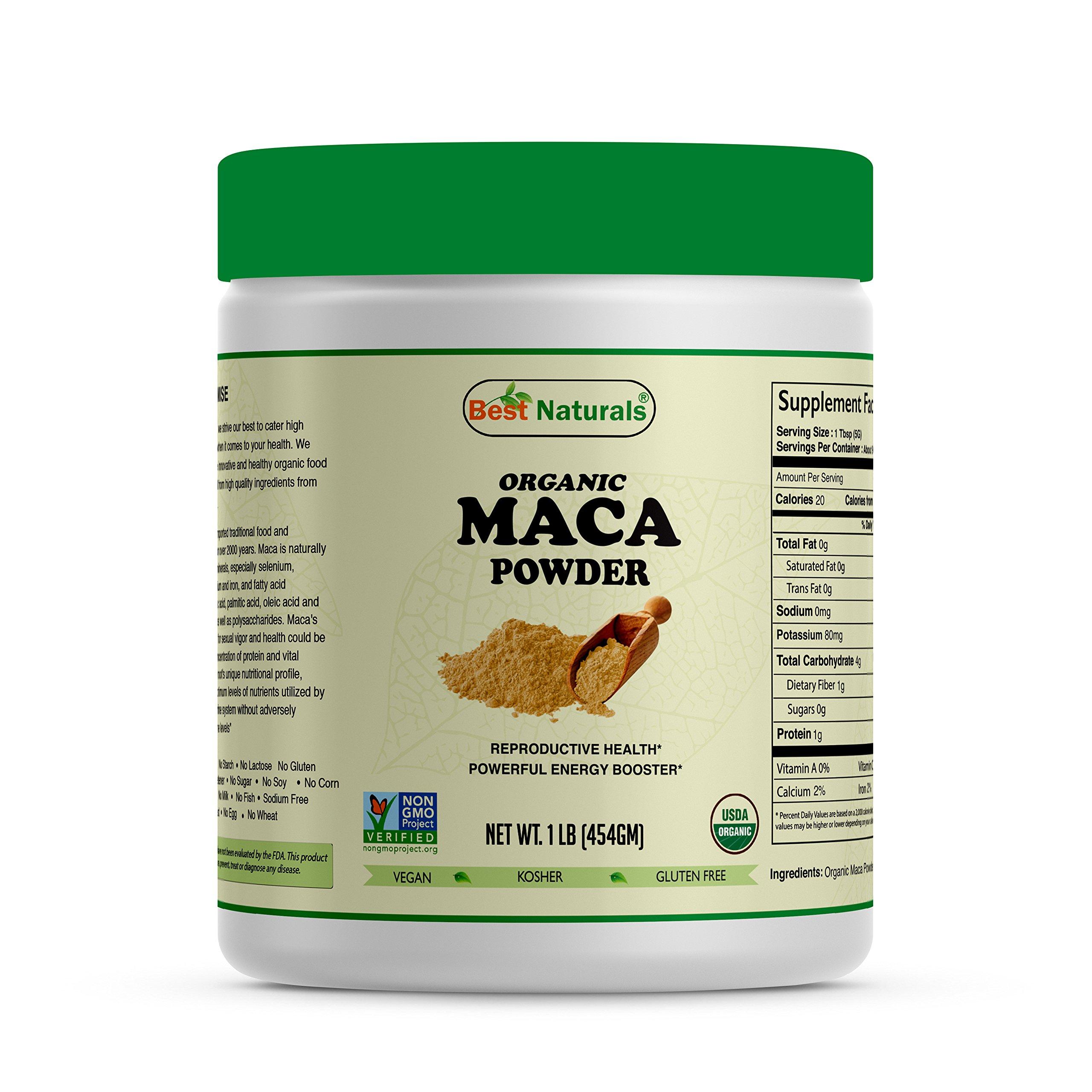 Best Naturals Certified Organic Maca Root Powder 1 lb (454 Gram), Non-GMO Project Verified & USDA Certified Organic