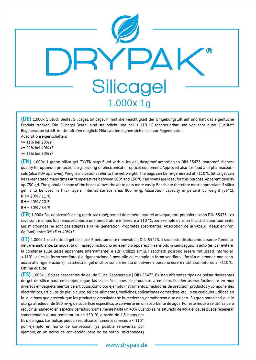 DRYPAK | 100 x 1 gramo/BOLSAS DESECANTES DE GEL DE SÍLICE/Deshumidificador, regenerable