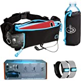 DOB Running Belt Package by 1 Adjustable Belt 2X Reflective Bracelets 1 Detachable Bottle Holder Perfect for Travelling Skiing Camping Biking Jogging Cycling Fits all iPhone and Samsung