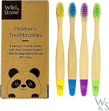 Cepillo de dientes de bambú orgánico para niños | Cuatro colores ...