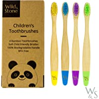 Wild & Stone Organic Children's Bamboo Toothbrush   Four Colors   Soft Fibre Bristles   100% Biodegradable Handle   BPA…
