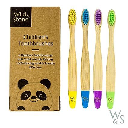Cepillo de dientes de bambú orgánico para niños | Cuatro colores | Cerdas firmes de fibra de carbono | Mango 100% biodegradable | Cepillos de dientes ...
