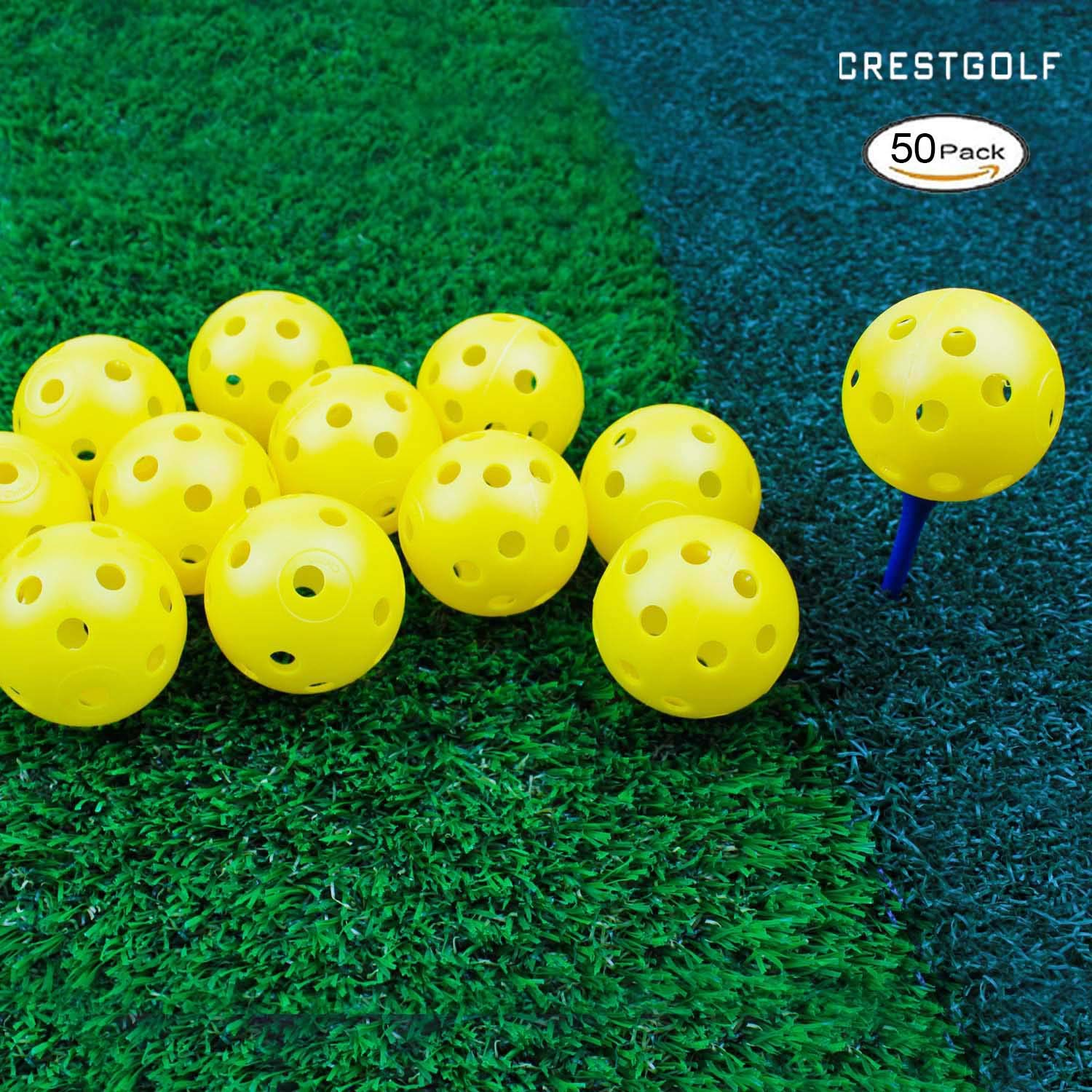 Crestgolf 12/50 Pack Plastic Golf Training Balls - Airflow Hollow 40mm Golf Balls for Driving Range, Swing Practice, Home Use,Pet Play.(Yellow,50pack) by Crestgolf