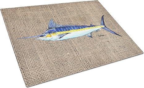 Amazon Com Caroline S Treasures 8773lcb Fish Marlin Glass Cutting Board Large 12h X 16w Multicolor Kitchen Dining