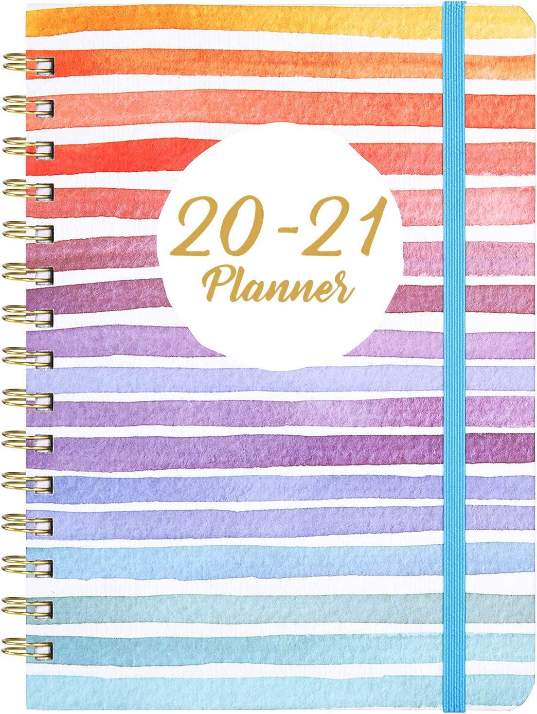 """Planner 2020-2021 - Academic Weekly & Monthly Planner with Tabs, 6.3"""" x 8.4"""", Hardcover with Back Pocket + Thick Paper + Banded, Twin-Wire Binding - Colorful and Fun"""