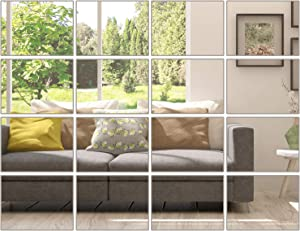 Motarto 16 Sheets Flexible Mirror Sheets Acrylic Mirror Tiles Removable Mirror Wall Stickers for Home Living Room Bedroom Decor, 6 x 4 Inches