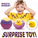 Natural Kids Bath Bombs with Surprise Toys Inside - 5.5 OZ Fun and Safe for Kids Bath Fizzies - 6 Pack in an Egg Carton with Free Art Book- Hand Made in USA …