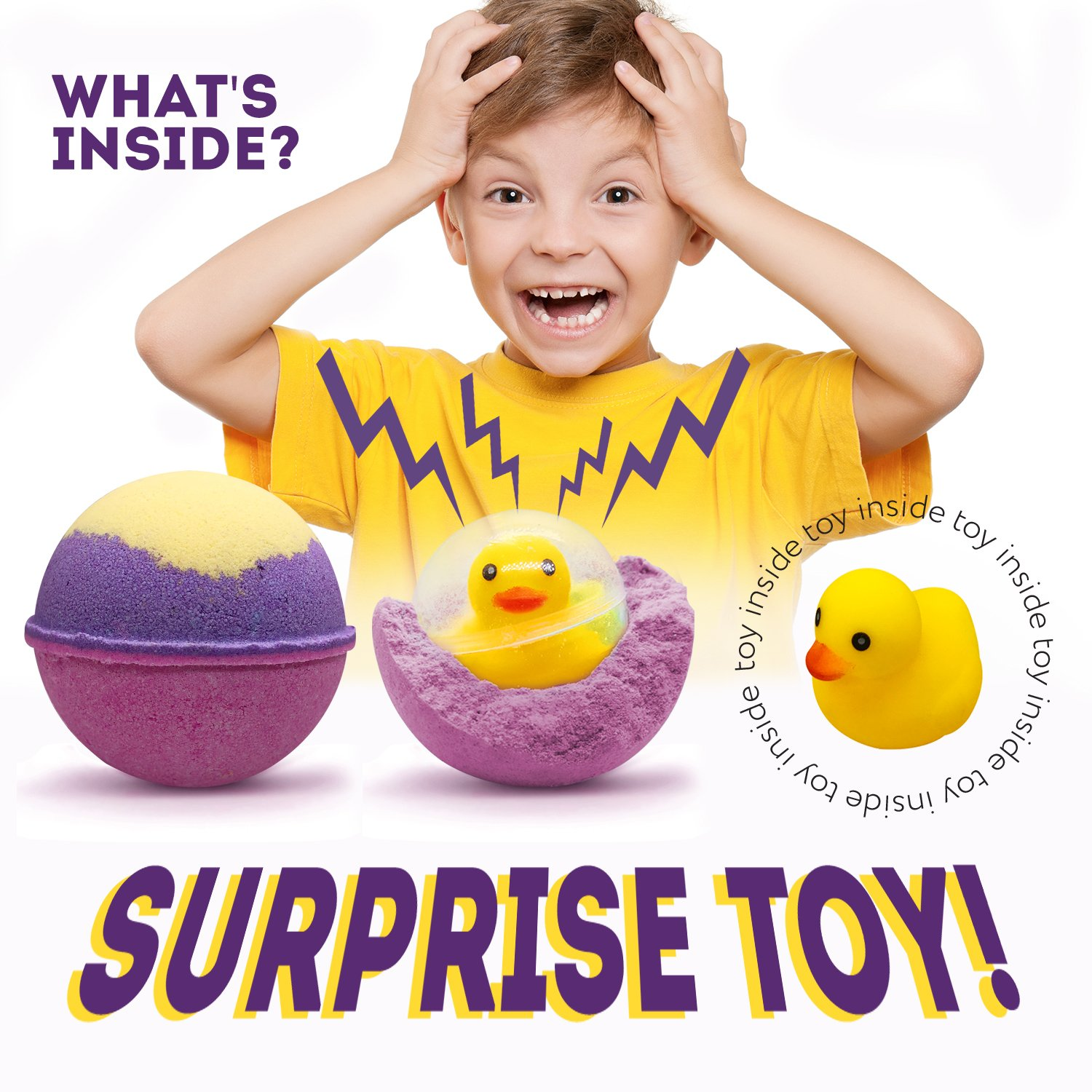 Bath Bombs Kids with Surprise Toys Inside - Natural XXL 7 OZ Fun and Safe for Kids Bath Fizzies - 1 Pack - Hand Made in USA