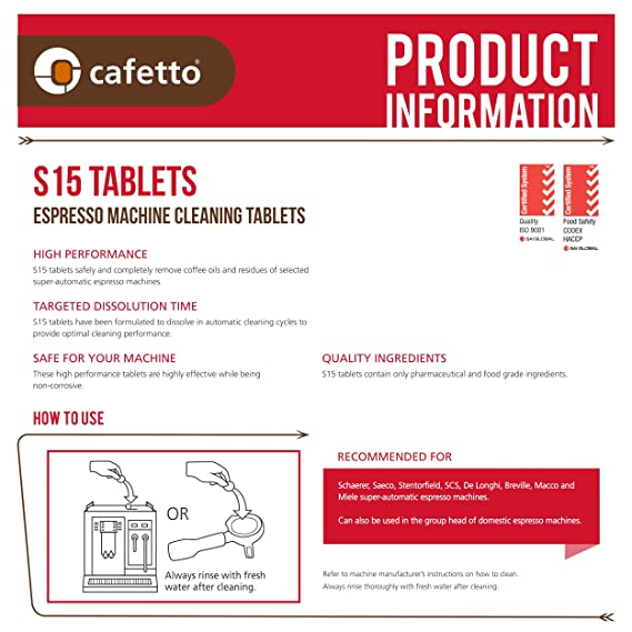 Amazon.com: Cafetto S15 High Performance Espresso Machine Cleaning Tablets (100 Count Tablets Jar): Kitchen & Dining