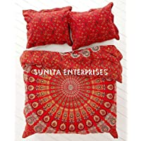"""SUNITA ENTERPRISES Present World Famous Red Indian Mandala - Ombre Duvet - Doona - Blanket Cover , Bohemian Tapestry Duvet Cover , INDIAN Cotton Quilt Cover Urban , Blanket Cover Throw Twin Size ( 85""""x55"""" ) With 2 Pillow Cover By SUNITA ENTERPRISES"""
