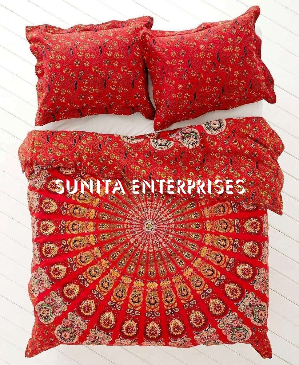 SUNITA ENTERPRISES Present World Famous Red Indian Mandala - Ombre Duvet - Doona - Blanket Cover , Bohemian Tapestry Duvet Cover , INDIAN Cotton Quilt Cover Urban , Blanket Cover Throw Twin Size ( 85x55 ) With 2 Pillow Cover By SUNITA ENTERPRISES