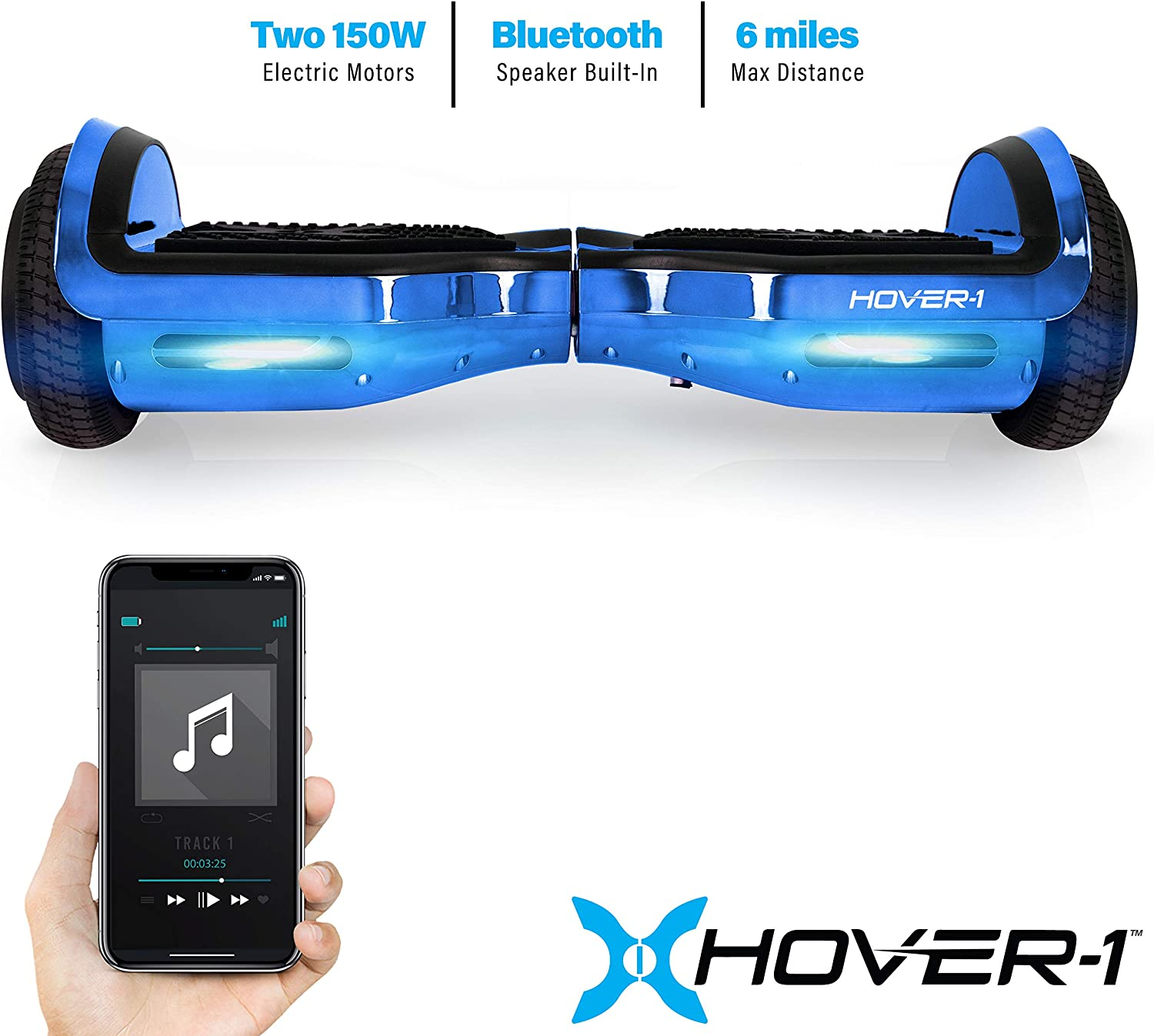 Hover-1 Chrome Electric Hoverboard Scooter Blue - 1