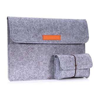 """MoKo 13.5 Inch Laptop Sleeve Case Bag Compatible with Surface Laptop 2 / Surface Book 2 13.5"""", Felt Protective Ultrabook Carrying Case Cover, with Small Felt Bag & Two Back Pockets - Light Gray"""