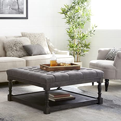 Pleasing Tufted Ottoman Coffee Table Centerpiece Suitable For Living Rooms Large Storage Bench Provides Comfort And Functionality Grey Linen Fabric And Download Free Architecture Designs Grimeyleaguecom