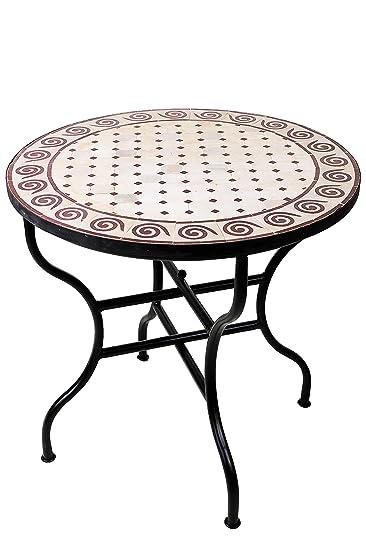 ORIGINAL Marokkanischer Mosaiktisch Gartentisch ø 80cm Groß Rund Klappbar |  Runder Klappbarer Mosaik Esstisch Mediterran |