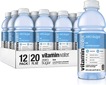12-Pack Vitaminwater Zero Sugar Ice Cool Blueberry Flavored Bottled Water