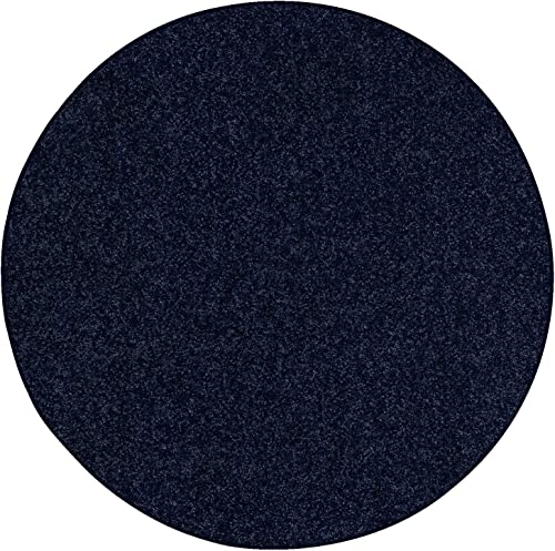 Ambiant Pet Friendly Solid Color Area Rug Navy