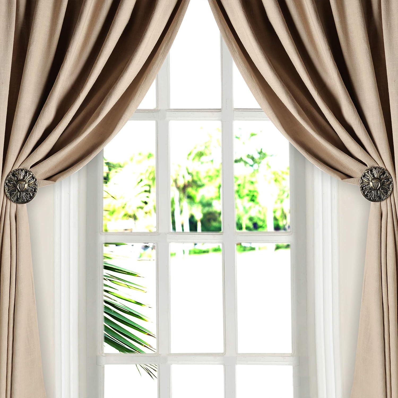 Amazon Com Deco Window Holdback Curtain Tieback Set Of 2 Round Medallion Antique Brass Home Improvement