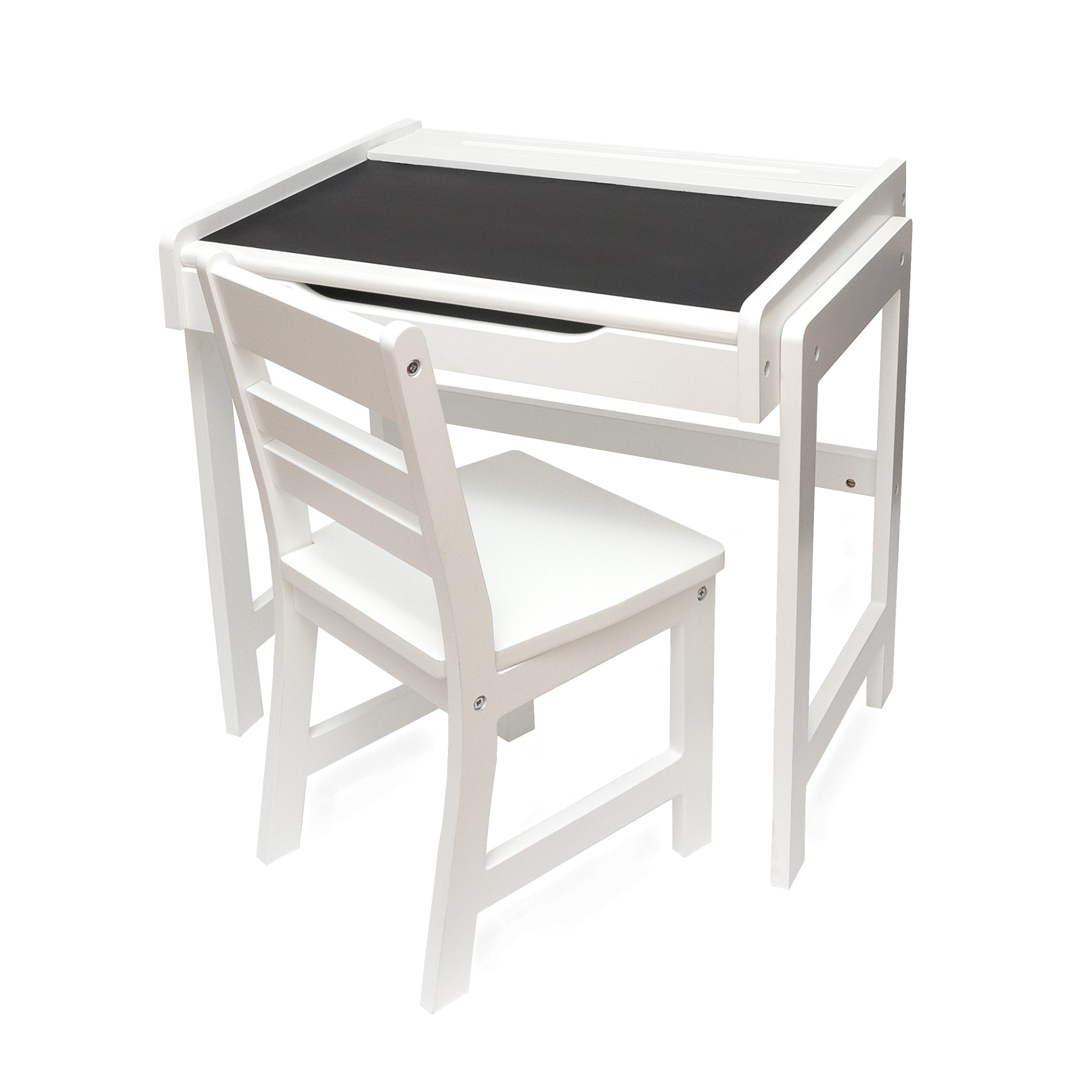 Lipper International 554AW Child's Desk with Chalkboard Top & Chair, Antique White