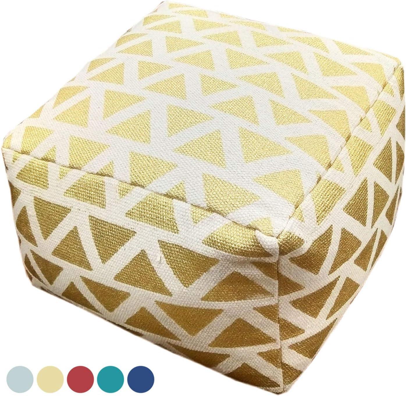 casamia Sitzhocker Sitzwürfel 55x37x55 cm Fußhocker Bodenkissen Design Pouf Kelim Style Maja 5 Farben Farbe metallic Gold