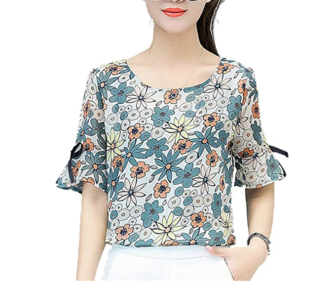 OUXIANGJU New Womens Summer Chiffon Blouse Fashion Short Sleeve O-Neck Floral Print Shirts