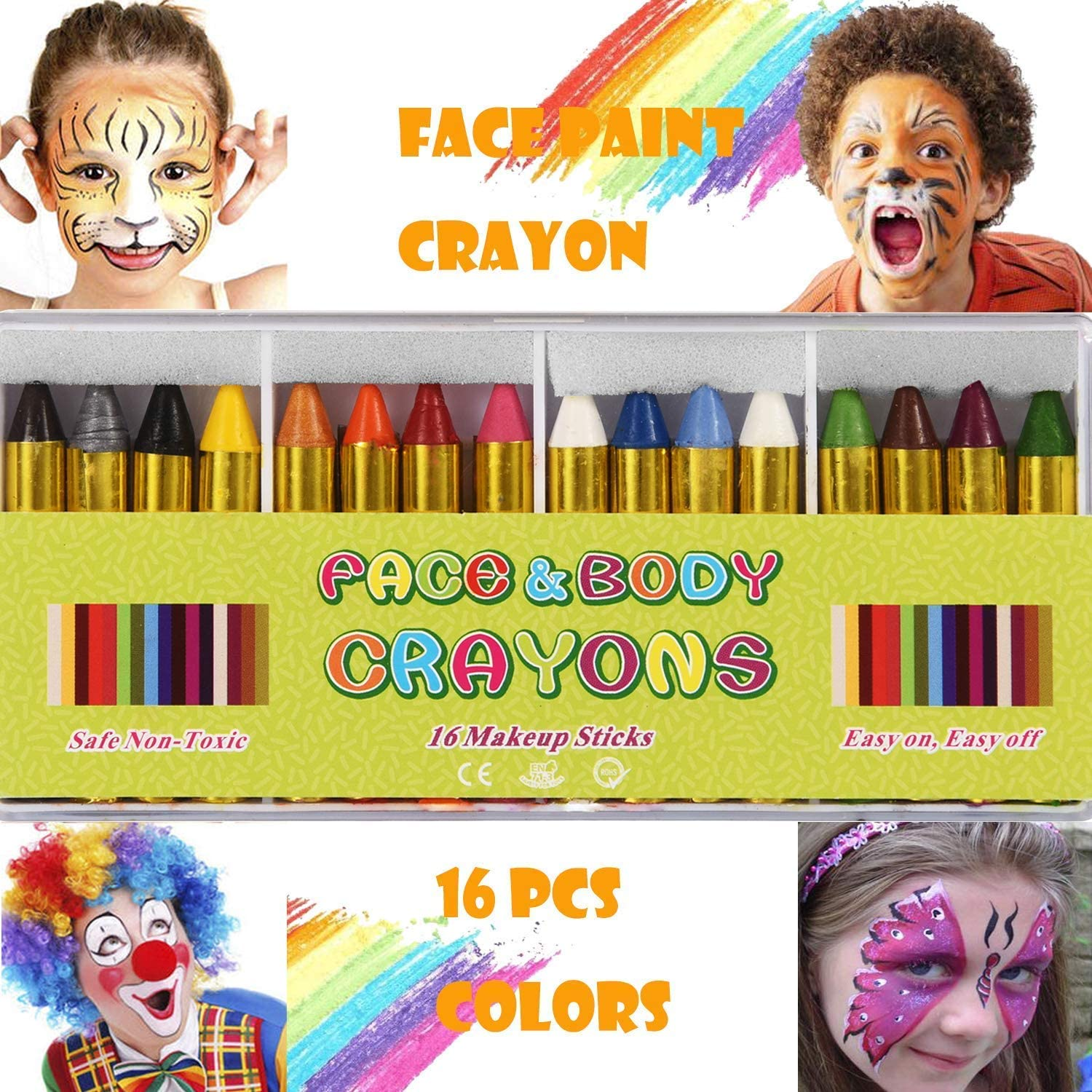 Professional Washable Safe /& Non-Toxic Face and Body Paint Crayons XLKJ Face Painting Kits for Kids