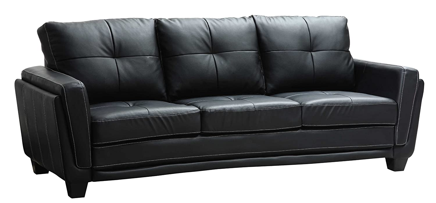 Delightful Amazon.com: Homelegance 9701BLK 3 Dwyer Sofa, Black Vinyl Fabric: Home U0026  Kitchen