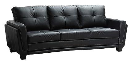 Superieur Homelegance 9701BLK 3 Dwyer Sofa, Black Vinyl Fabric