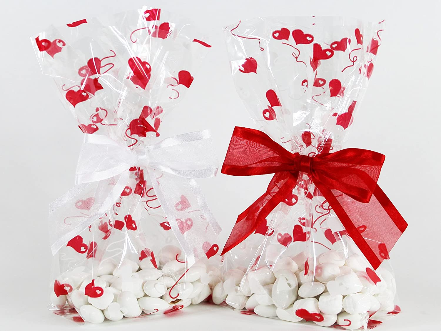 Valentine Hearts Cellophane Treat/Party Favor Bags with Red & White Twist-Tie Organza Bow. Set of 10 Ready-to-Use, Gussetted 11x5x3 Goodie Bags with Bows. Red, White