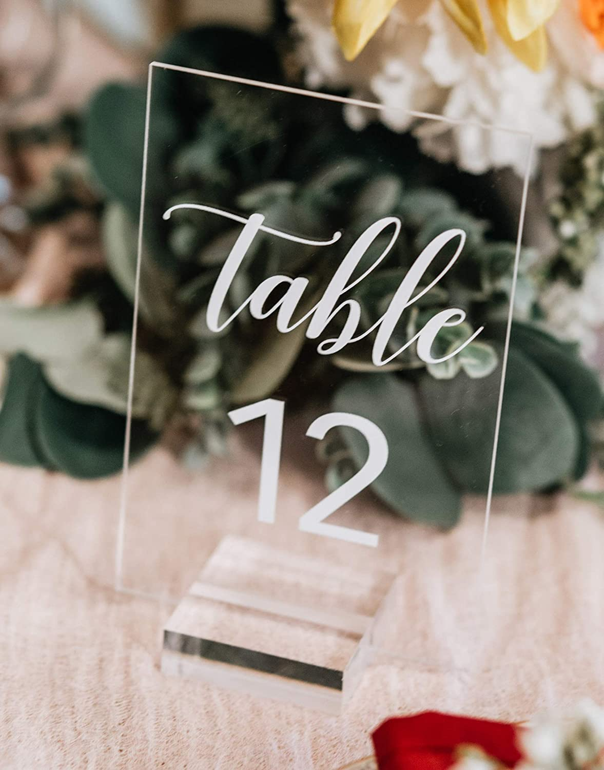 Amazon com: Acrylic Table Number Sign With Stands, Clear