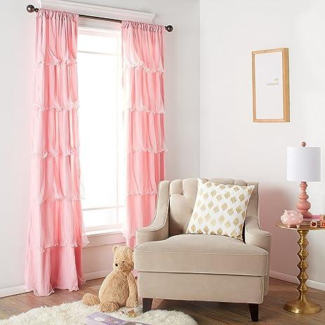 Amazon.com: 1 Piece Girls Nerina Ruffle Light Pink Window Curtain ...