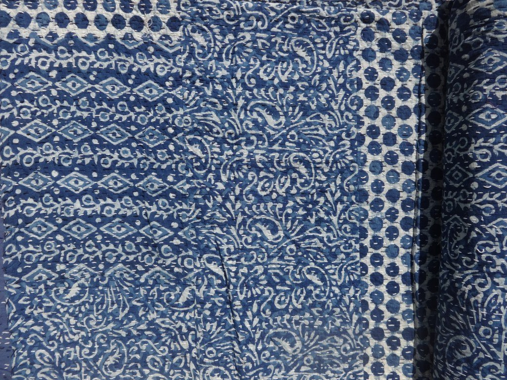 Trade Star Indigo color Hand Block Printed Kantha Quilt, Queen Size Patchwork Cotton Bedspread, Made By Artisians Of India