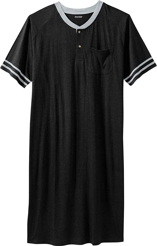KingSize Mens Big /& Tall Short-Sleeve Henley Nightshirt