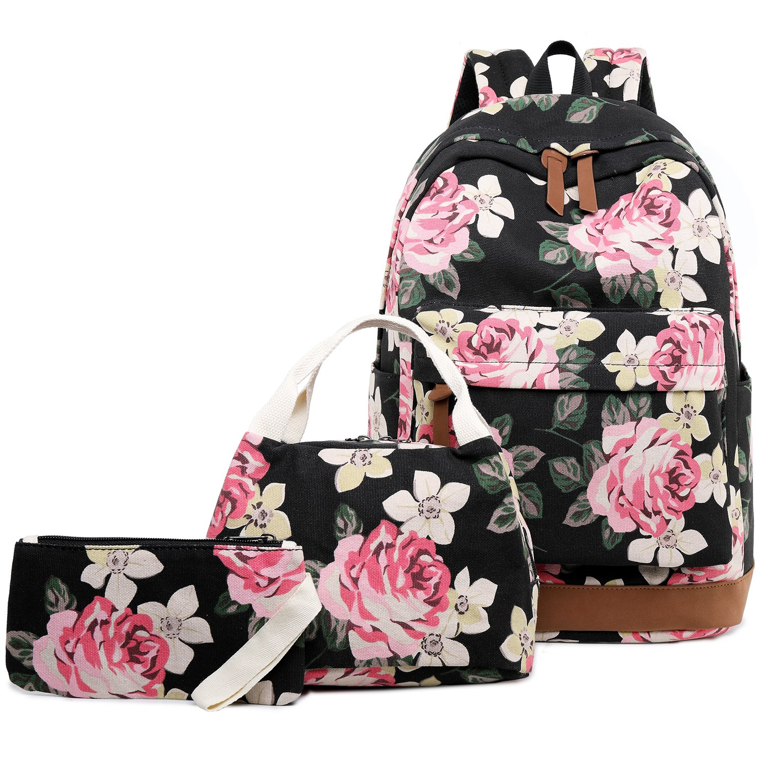 Abshoo Canvas Dot Backpack Cute Teen Girls Backpacks Set 3 Pcs School Bookbags ZLSB0135PB04