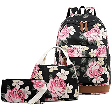 7b5858f124 Abshoo Floral Backpacks For Girls Canvas School Bookbags Teen Girls  Backpacks With Lunch Bag (Floral
