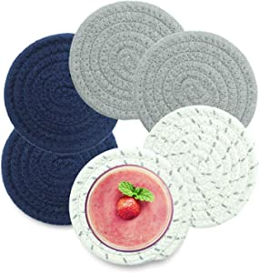 Woven Coasters for Drinks, Handmade Absorbent Drink Coaster Set of 6 (4.3 in), Braided Heat-Resistant Drink Coasters for Tabletop Protection, Farmhouse Coasters, Housewarming Gift (Navy Set)